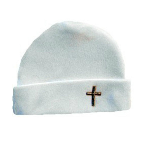 Unisex Baby White Hat with Gold Cross for Preemie and Newborn