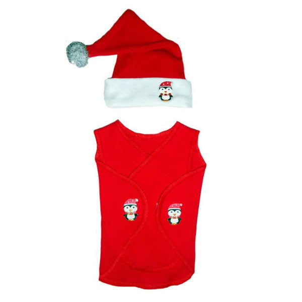 Preemie Unisex Baby Christmas Clothing Wrap with Santa Hat and Penguins!