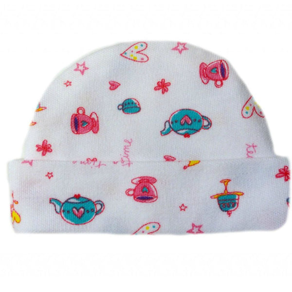 New Born and Preemie Baby Girls Tea Time Capped Hat