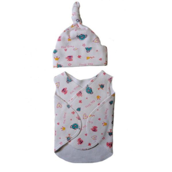 Baby Girls' Preemie Tea Time Snuggler Wrap and Knotted Hat