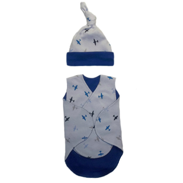 Baby Boys Airplane Preemie NICU Snuggler Wrap and Hat