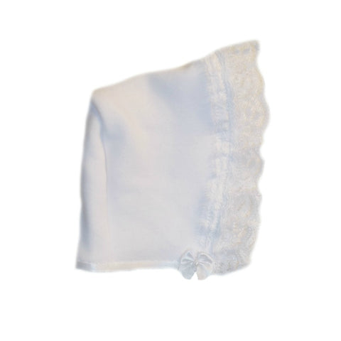 Baby Girls' White Bonnet with Beautiful Lace