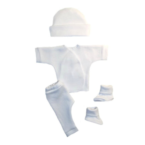 4 Piece Unisex Baby All White Clothing Outfit
