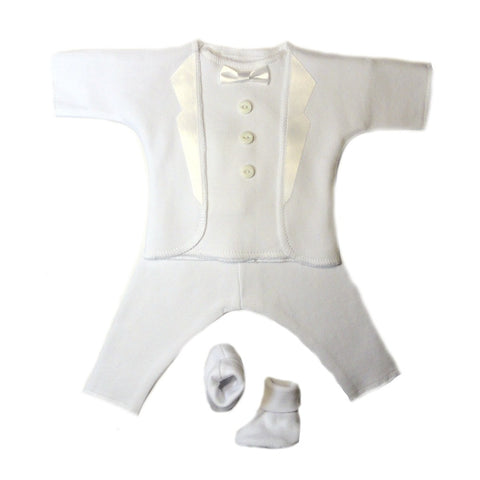 Baby Boy's All White Tuxedo Suit. Premature Babies, Preemie and Newborn