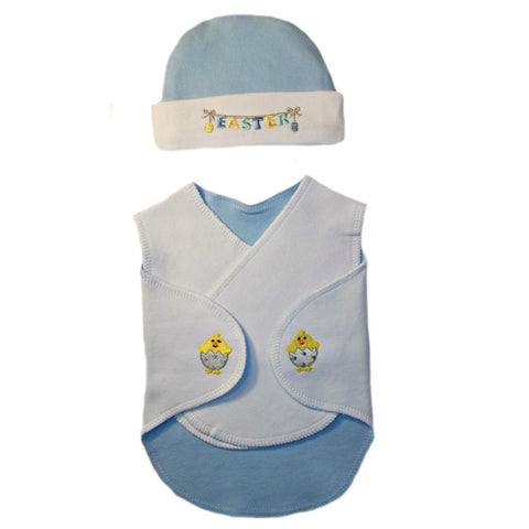 Baby Boy's Easter Snuggle Wrap and Hat. For Premature Babies, Preemie and Newborn