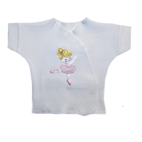 Preemie and Newborn Baby Girls' Dancing Ballerina and Bears Short Sleeve Shirt