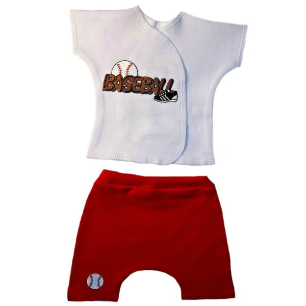 Newborn and Preemie Baseball Shorts Clothing Set.