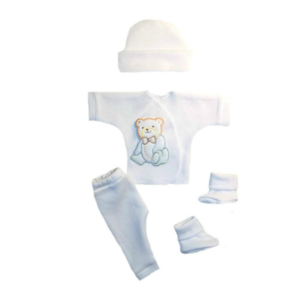 Baby Boy 4 Piece Burial Clothing Outfit with Handsome Bear