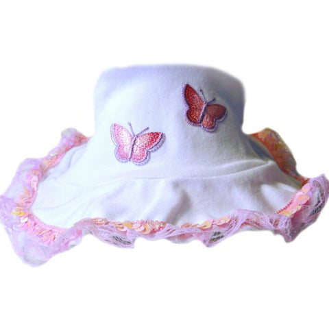 Baby Girls' Beautiful Butterflies Sun Hat for Preemie, Newborns and Toddlers