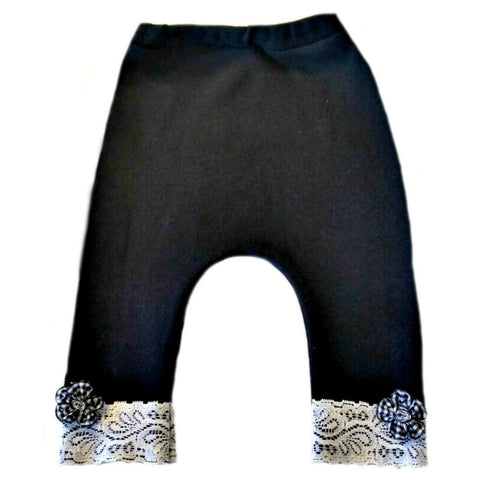 Black Baby Girls' Lace Pants with Bows for Preemie Newborn and Toddlers!