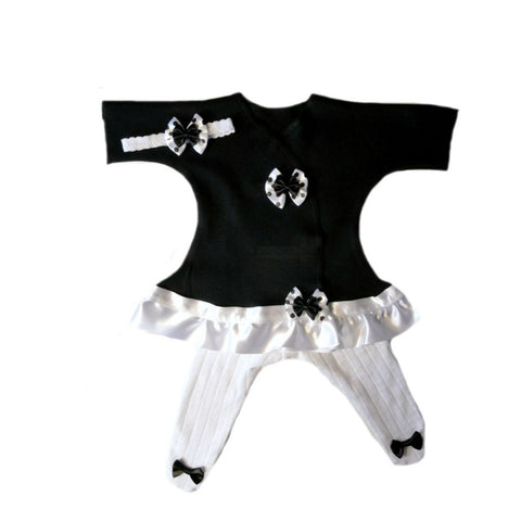 Newborn and Preemie Baby Girl Black Dress, Tights and Headbands