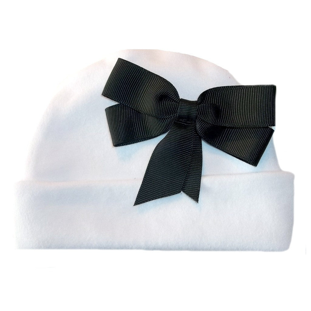 Baby Girls' White Hats with Big Bows! Black, Red or Turquoise!