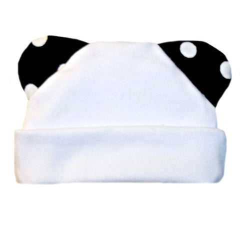 Unisex Baby White Hat with Polka Dot Ears!