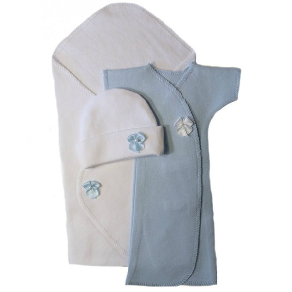 Baby Boys' Preemie Burial Gown and Blanket Set Sized For Preemie and Newborn Babies