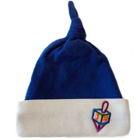 Baby Boys' Royal Blue Hanukkah Knotted Hat with Dreidel Sized For Preemie and Newborn Babies And Toddlers