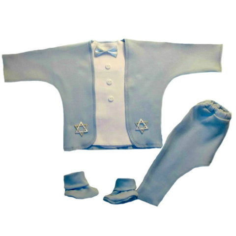 Baby Boys' Blue Star of David Tuxedo Suit Sized for Preemie and Newborn Babies
