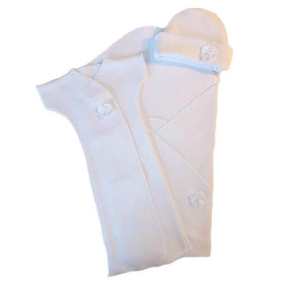 Unisex Baby All White Burial Gown Set for Preemie and Newborn