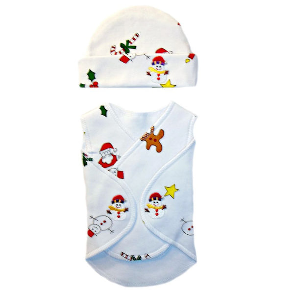 Preemie Unisex Baby NICU Christmas Snuggler Wrap and Hat