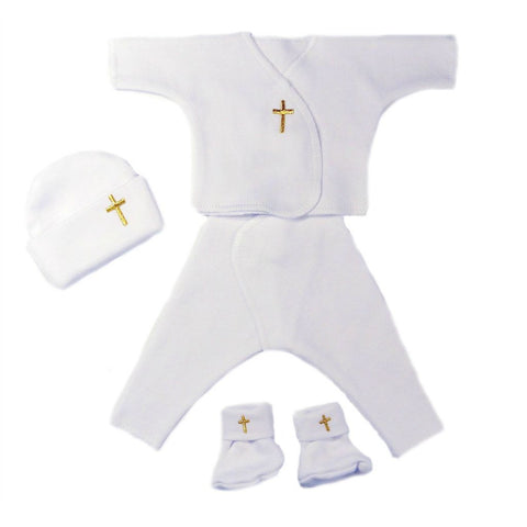 Unisex Baby Four Piece Cross Clothing for Preemie and Newborn