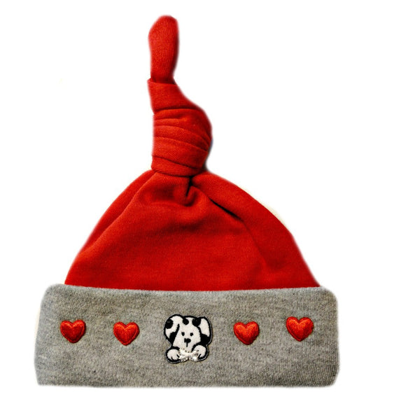 Baby Boy's Dalmatian Valentine's Day Hat. Premature Babies, Preemie and Newborn