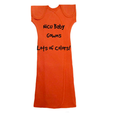 Unisex Baby Short Sleeve NICU Preemie Gowns in Solid Colors Sized For Preemie and Newborn Babies
