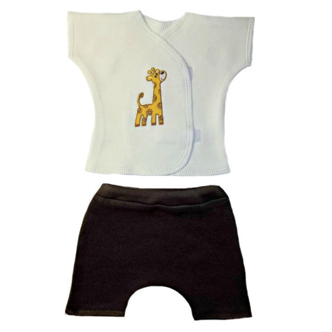 Unisex Baby Gentle Giraffe Shorts Set for Premature Babies, Preemie, Micro Preemies and Newborns