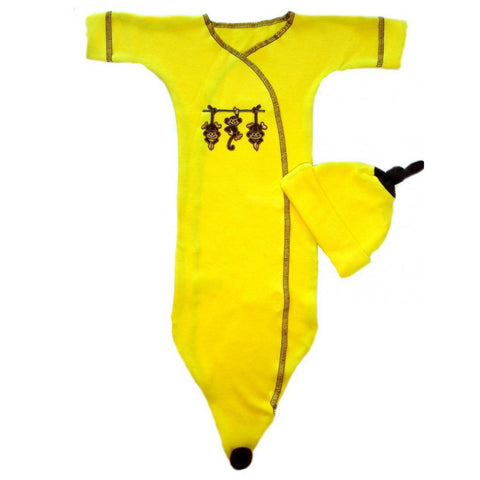 Unisex Baby Going Bananas Bunting Gown Set Sized for Preemie and Newborn Babies
