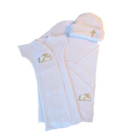 Unisex Baby Burial Bereavement Gown Set with Christian Cross and Bible