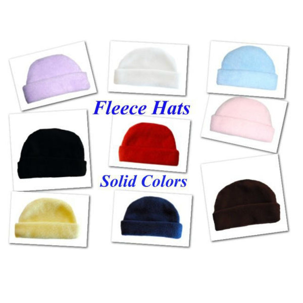 Fleece Baby Hats - Lots of Color Choices! Sized for Preemie and Newborn Babies