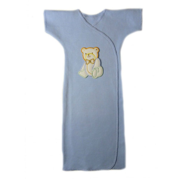 Baby Boys' Handsome Bear Light Blue Gown Sized for Preemie and Newborn Babies