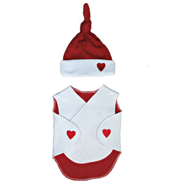 Preemie Unisex Baby NICU Red Hearts Wrap and Hat. Valentine's Day
