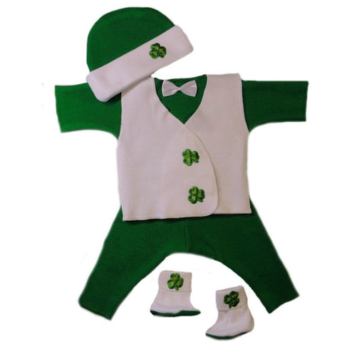 Baby Boys' Irish Shamrock Suit with Vest Sized for Preemie and Newborn Babies