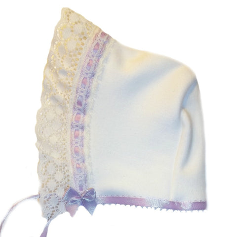 Baby Girls' Ivory Bonnet with Lavender Lace