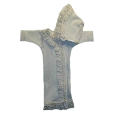 Baby Girls' Gorgeous Ivory Lace Burial Bereavement Gown Set Sized for Preemie and Newborn Babies