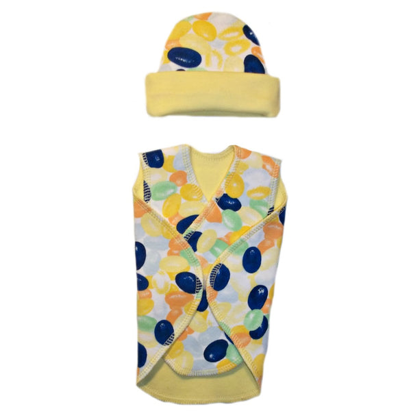 Jumping Jelly Bean NICU Preemie Snuggler Wrap and Hat