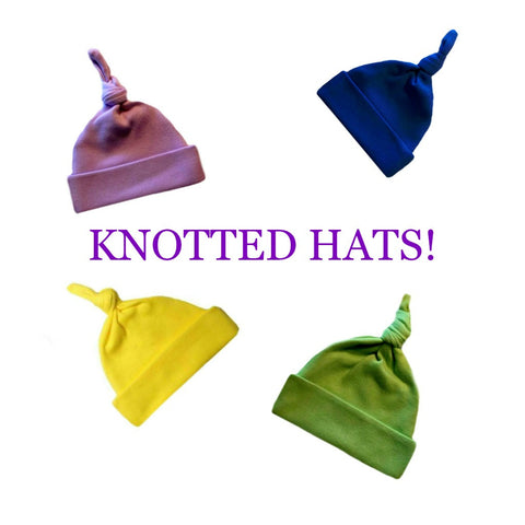 Newborn and Preemie Unisex Baby Knotted Hats