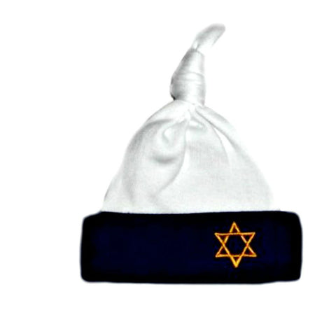 Baby Boy Blue and White Knotted Star of David Hat for Preemie and Newborns.Good Take me Home Hat.