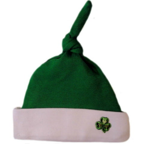 Unisex Baby Irish Knotted Hat with Shamrock Sized for Preemie and Newborn Babies