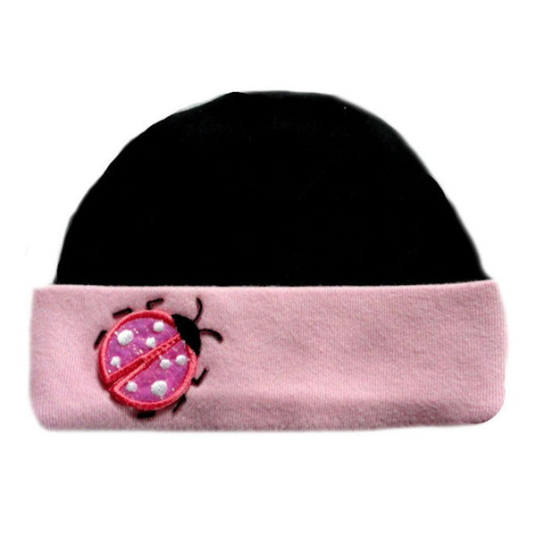 Newborn and Preemie Baby Girls' Black and Pink Ladybug Hat
