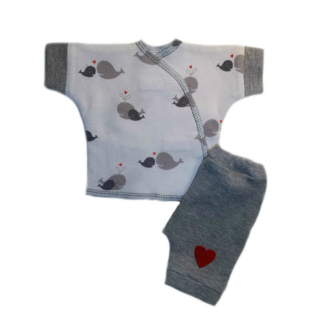 Whale of a Time 2 Piece Baby Shorts Clothing Set