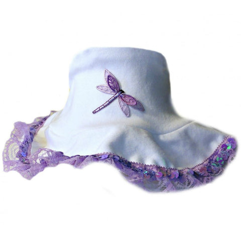 Baby Girls' Lovely Lavender Dragonfly Sun Hat Sized For Preemie and Newborn Babies