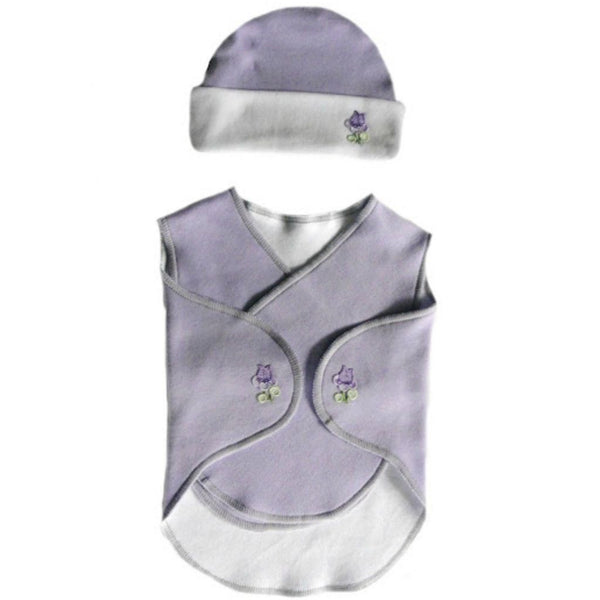 Preemie Baby Girl Lovely Lavender Snuggler Wrap and Hat