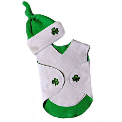 Preemie Unisex Baby NICU Luck of the Irish Snuggler Wrap and Hat