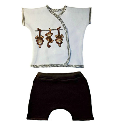 Unisex Baby White Monkey Shorts Sets for Premature Babies, Preemie and Newborns