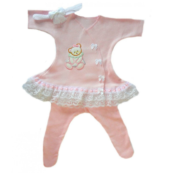 Baby Girls' Sue Sue Bear Sassy Dress Sized For Preemie and Newborn Babies