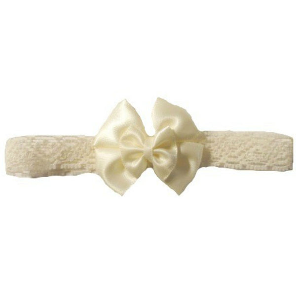 Baby Girl Ivory Lace Headband - Double Bow Sized for Preemie and Newborn Babies
