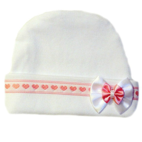 Baby Girls' Pink Hearts Hat Sized For Infant And Newborn Babies