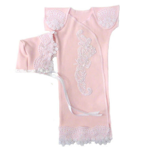 Preemie Baby Girl Stunning Lace Gown and Bonnet