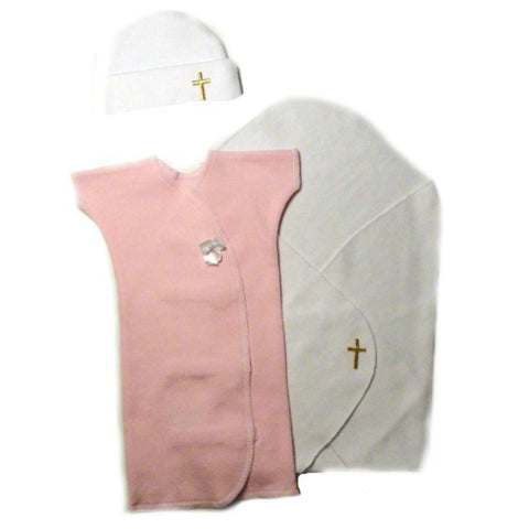 Baby Girls' Preemie Burial Cross Set - Pink Gown Sized For Preemie and Newborn Babies