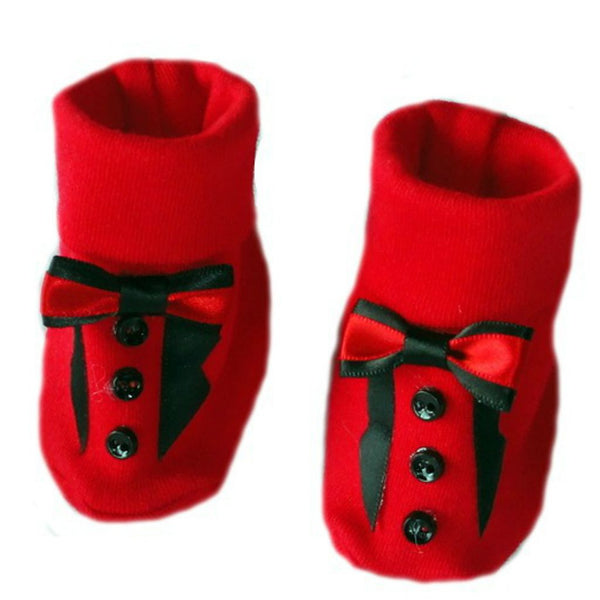 Baby Boys' Red Tuxedo Bootie Crib Shoe Sized For Preemie and Newborn Babies